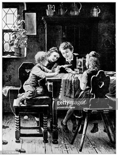 children with the pet bird by johann georg meyer von bremen - 19th century - johann georg stock illustrations