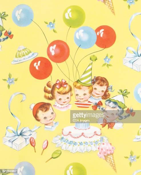 children's birthday party pattern - toddler stock illustrations