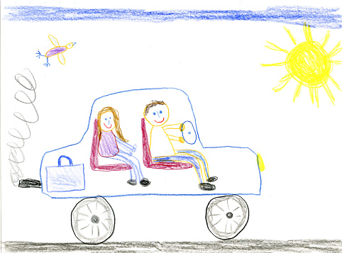 Children's drawing, father and daughter in car - gettyimageskorea