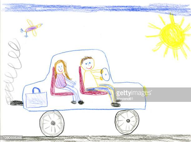 children's drawing, father and daughter in car - artistic product stock illustrations