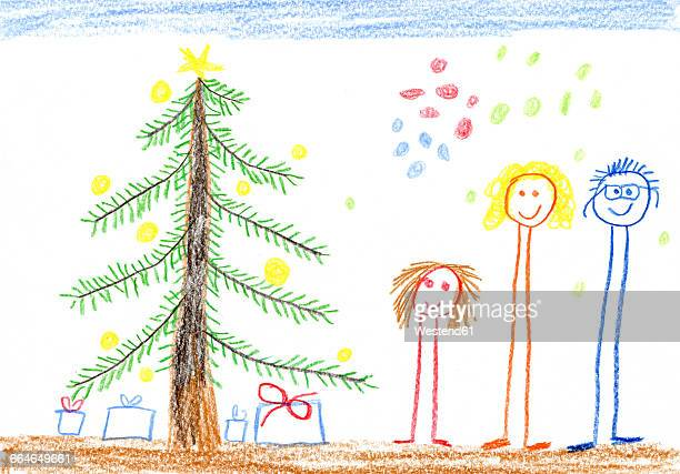 Children's drawing, happy family, Christmas tree and presents