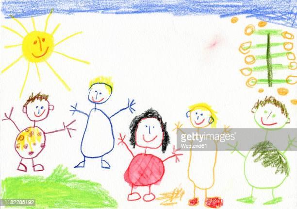 children¥s drawing, happy family - 棒人間点のイラスト素材/クリップアート素材/マンガ素材/アイコン素材