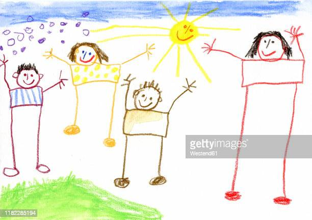 children¥s drawing, happy family - family stock illustrations