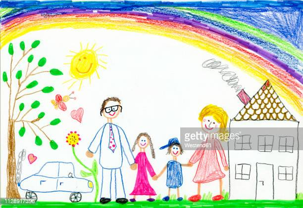 children¥s drawing, happy family with garden, car, sunshine, rainbow and house - artistic product stock illustrations