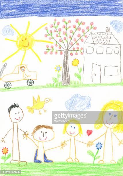 illustrazioni stock, clip art, cartoni animati e icone di tendenza di children¥s drawing, happy family with house, car, garden, apple tree and sunshine - effetto luminoso