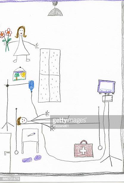 Children's drawing of child in hospital