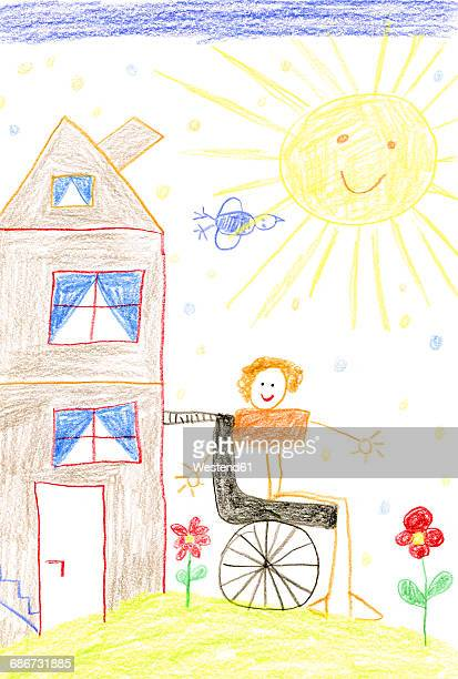 Children's drawing of child in wheelchair
