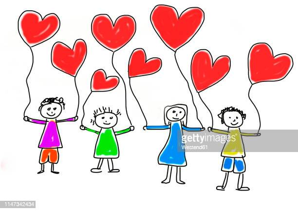 children's drawing of four happy children with heart-shaped balloons - carefree stock illustrations