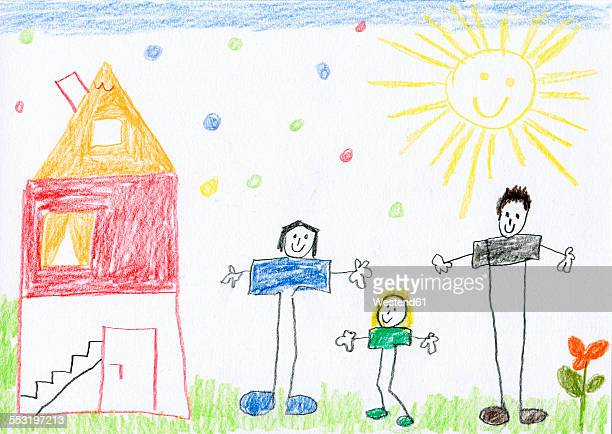 children's drawing of happy family and house - family stock illustrations