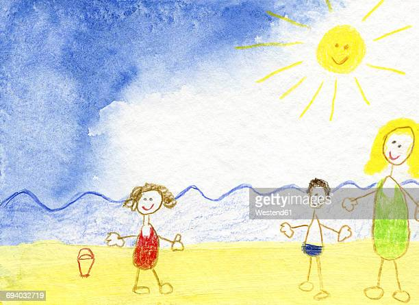 Children's drawing of happy family on the beach
