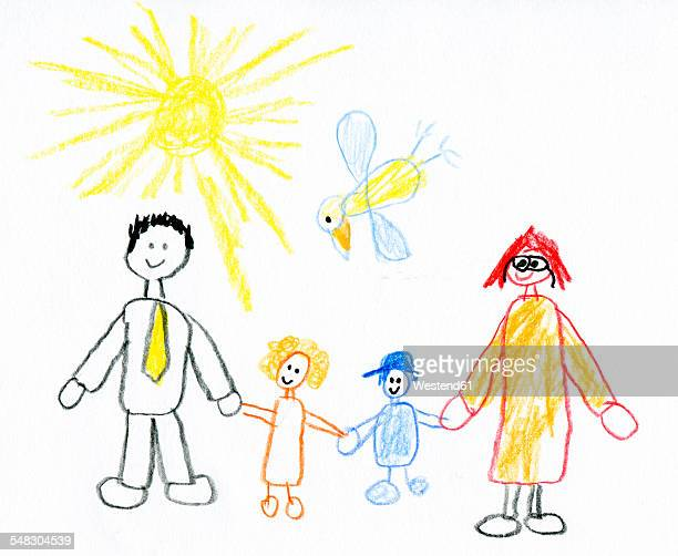 Children's drawing of happy family taking a walk in nature