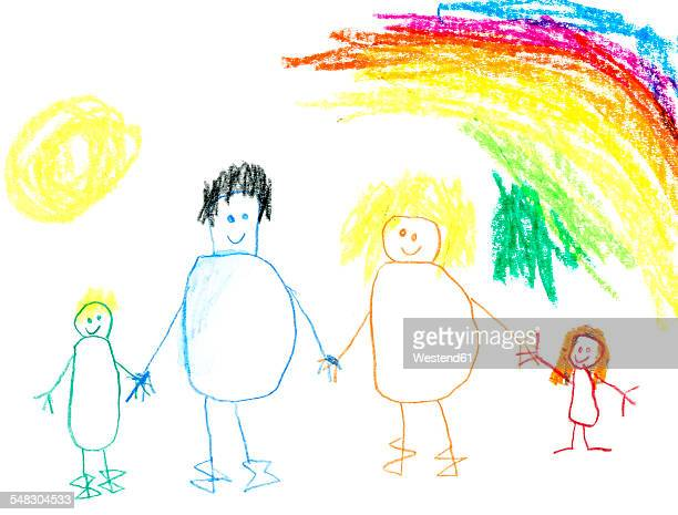 Children's drawing of happy family taking a walk under rainbow