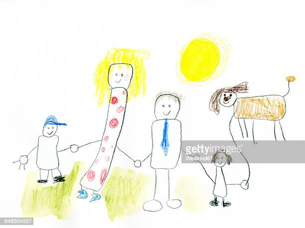 Children's drawing of happy family taking a walk with dog