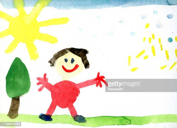 children's drawing of happy human - childhood stock illustrations