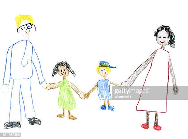 children's drawing of happy mixed-race family - family stock illustrations