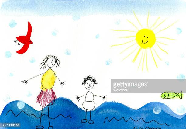 children's drawing of happy mother with child on vacation - artistic product stock illustrations