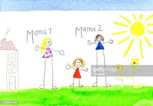 children's drawing of lesbian couple and little girl - homosexual couple stock illustrations