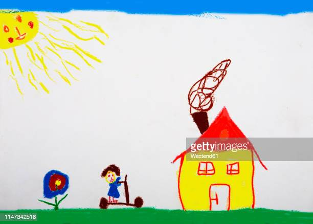 children's drawing of meadow with house, girl and flower - child's drawing stock illustrations