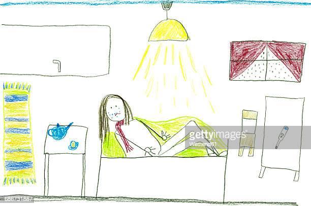 ilustraciones, imágenes clip art, dibujos animados e iconos de stock de children's drawing of sick child in bed - enfermedad de la piel