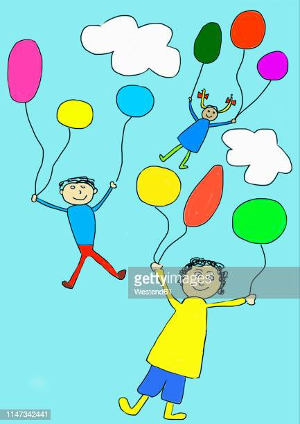 children's drawing of three happy children flying away with balloons - carefree stock illustrations