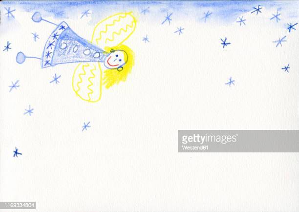 children's drawing with angel in snow - female likeness stock illustrations