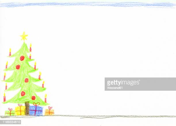 children's drawing with decorated christmas tree and presents - germany stock illustrations