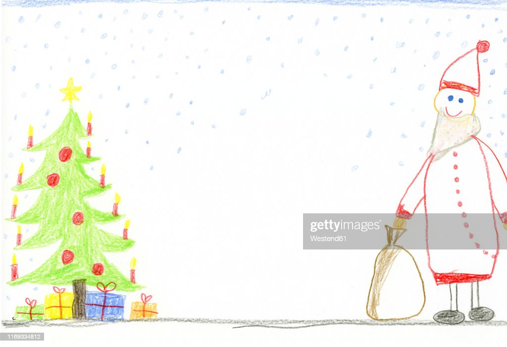 Childrens Drawing With Decorated Christmas Tree Presents And Smiling Santa Claus High Res Vector Graphic Getty Images