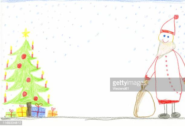 children's drawing with decorated christmas tree, presents and smiling santa claus - male likeness stock illustrations
