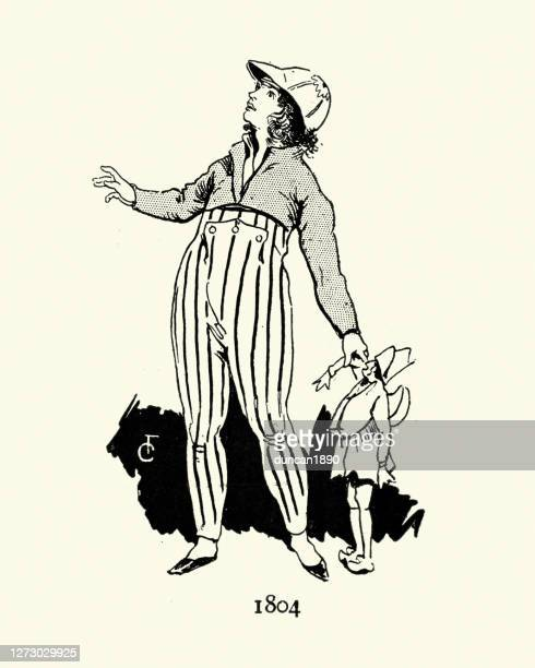 19世紀初頭の子供のファッション、少年、ボタンズボン、キャップ - 1800~1809年点のイラスト素材/クリップアート素材/マンガ素材/アイコン素材