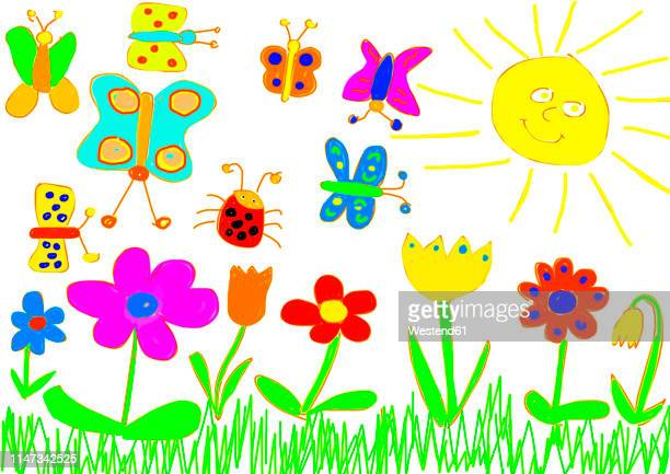 children's painting of flower meadow and butterflies - child's drawing stock illustrations