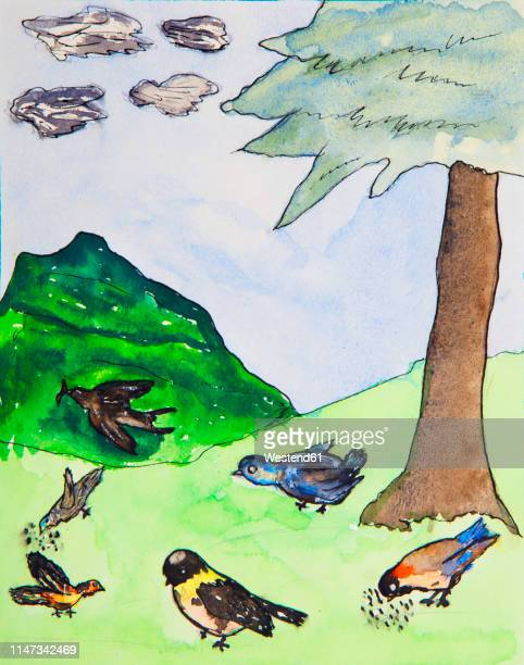 children's painting of song birds in nature - tranquil scene stock illustrations