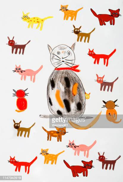 children's painting of various cats - child's drawing stock illustrations