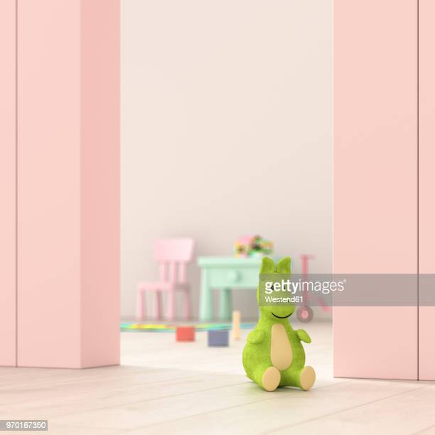 children's room behind ajar door, 3d rendering - childhood stock illustrations