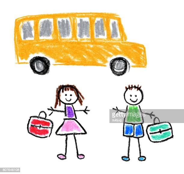 children's style drawing - back to school theme - artistic product stock illustrations