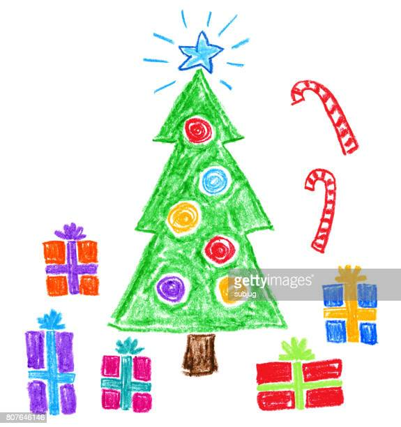 Children's Style Drawing - Christmas Tree and Gifts