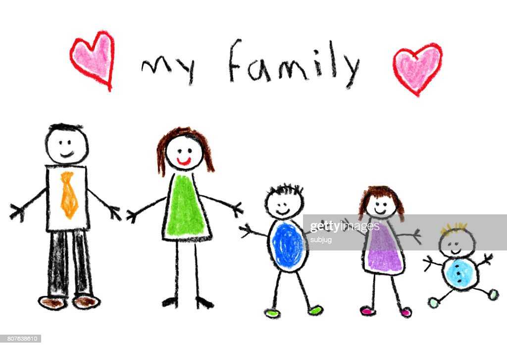 Children's Style Drawing - Family : stock illustration