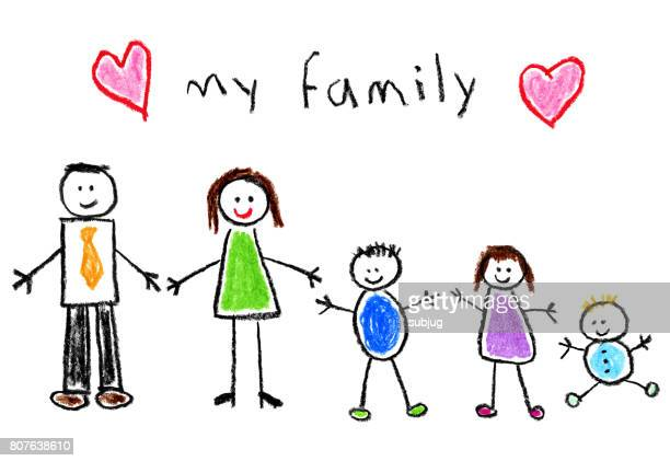children's style drawing - family - childhood stock illustrations