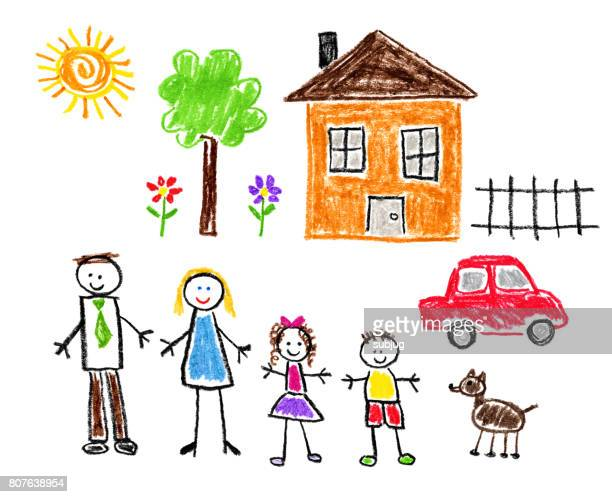 children's style drawing - family theme - child stock illustrations