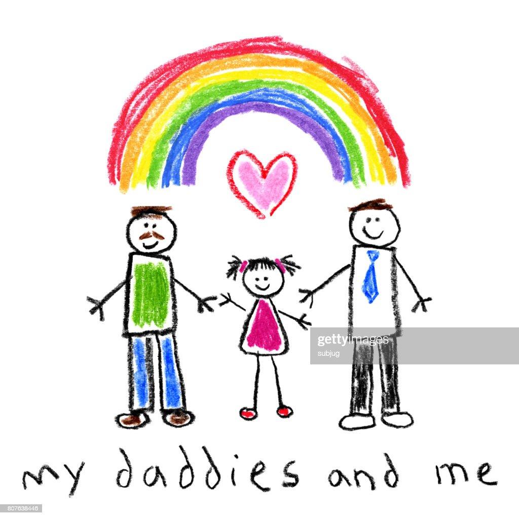 子供たちのスタイル図面 - 父と娘の同性愛者の家族 : ストックイラストレーション
