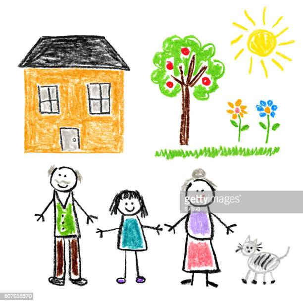 Children's Style Drawing - Girl with Grandparents