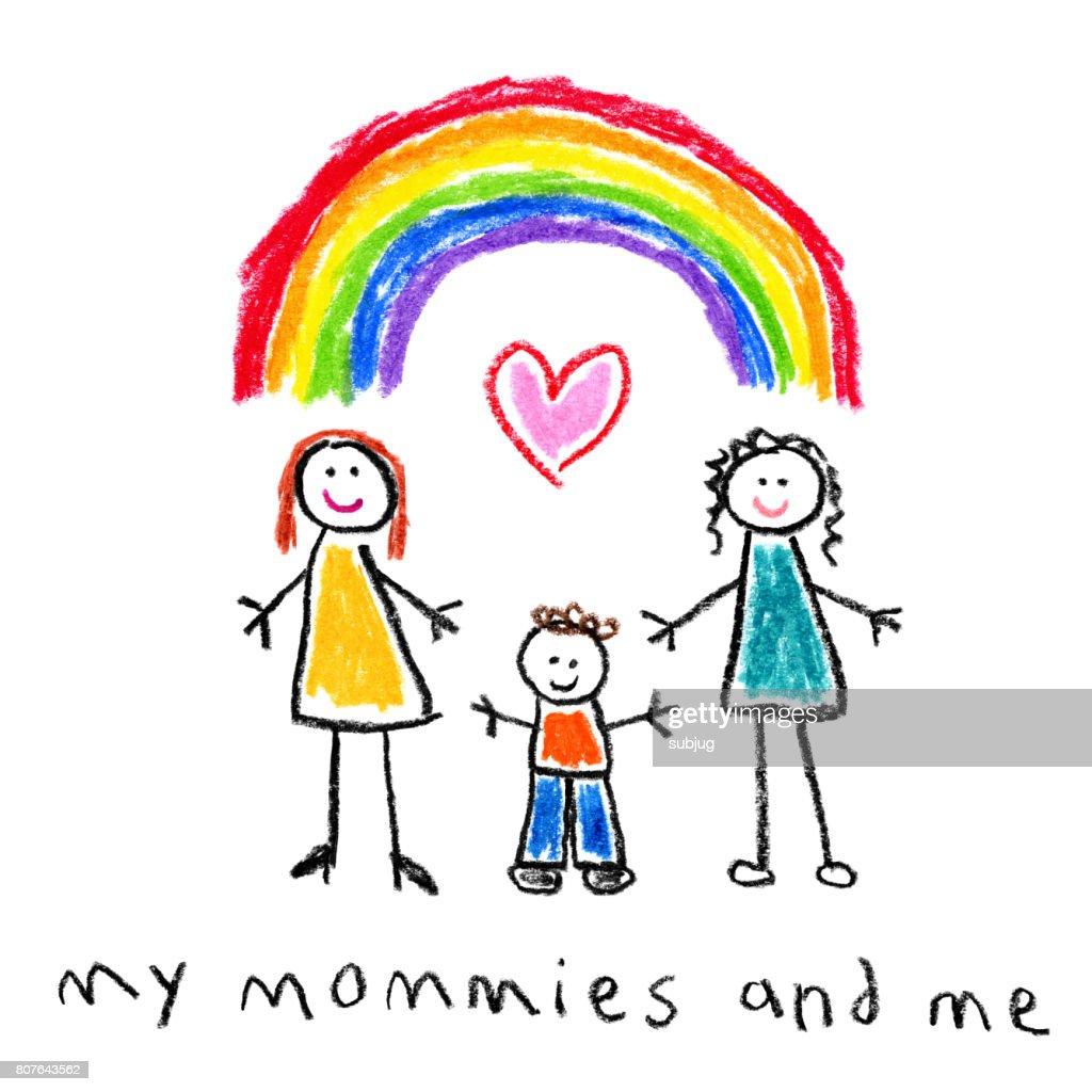子供たちのスタイル図面 - 母と息子の同性愛者の家族 : ストックイラストレーション