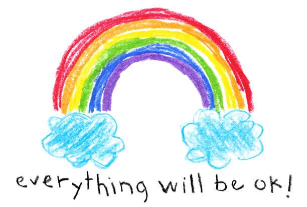 children's style drawing - rainbow coronavirus (covid-19) themed - rainbow stock illustrations