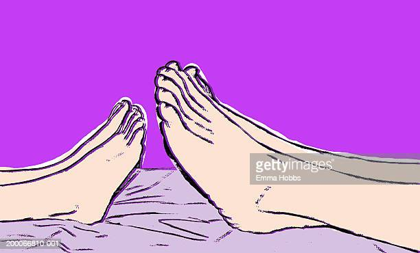 child's and adult's feet - lying on back stock illustrations, clip art, cartoons, & icons