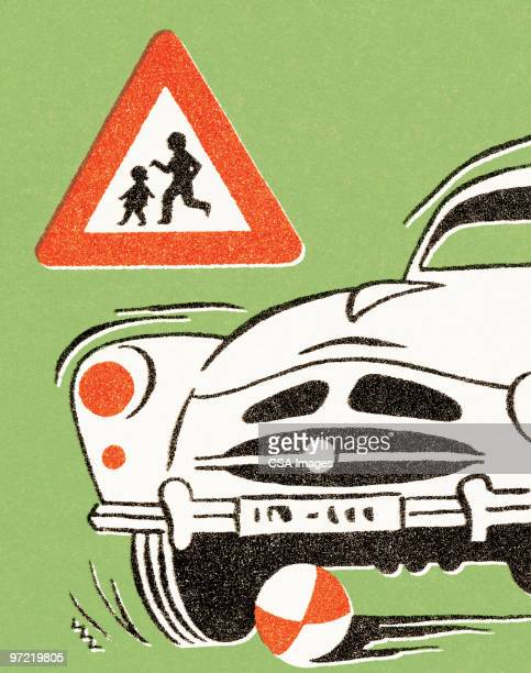 child's ball goes under car - road marking stock illustrations