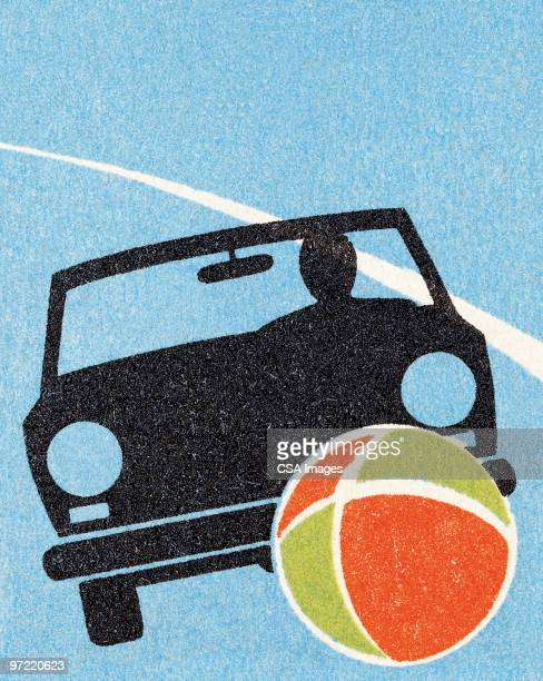child's ball goes under car - drive ball sports stock illustrations, clip art, cartoons, & icons