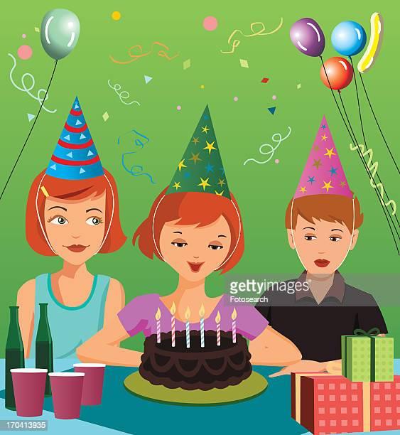 ilustraciones, imágenes clip art, dibujos animados e iconos de stock de child's birthday party - mujeres de mediana edad