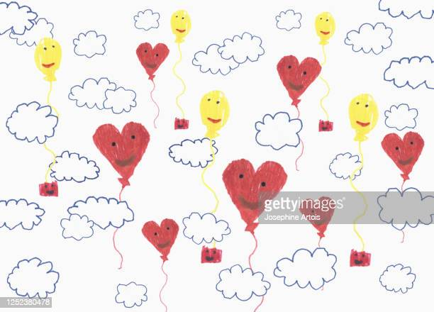 childs drawing anthropomorphic balloon pattern in cloudy sky - pattern stock illustrations