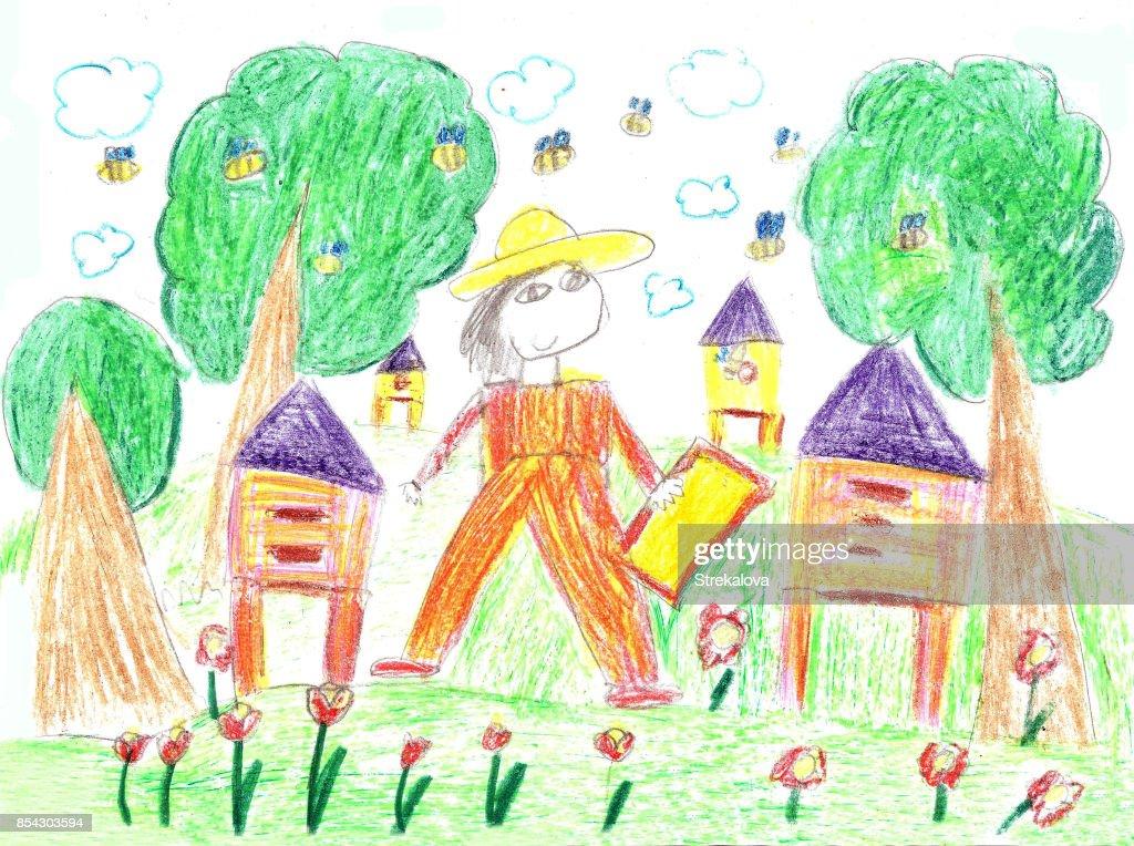 Kind Der Imker In Einem Feld Mit Wabenrahmen Zeichnen Stock ...