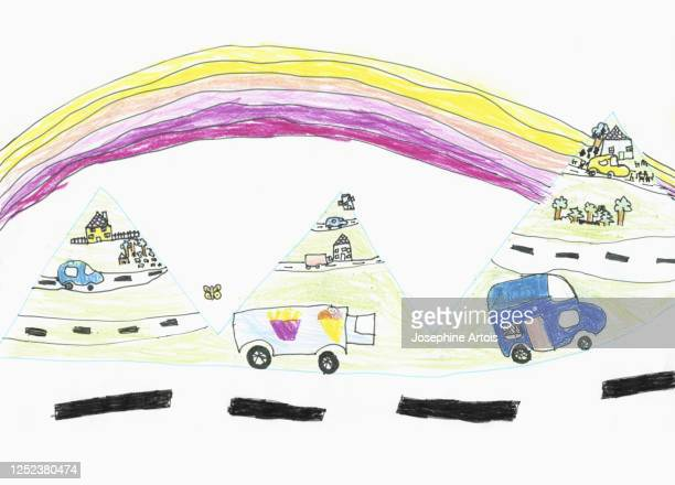childs drawing cars and trucks on road below rainbow - transportation stock illustrations