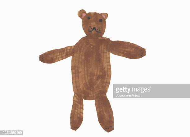 childs drawing cute brown teddy bear on white background - toy stock illustrations